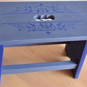 Le grand bleu- Kék sámli stencil mintával (katARTika007) - Meska.hu