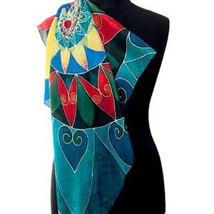 Kézzel festett saját tervezésű  selyemkendő 90x90 cm méretben (katasilks) - Meska.hu