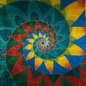 Kézzel festett saját tervezésű  selyemkendő 90x90 cm méretben, Táska, Divat & Szépség, Sál, sapka, kesztyű, Ruha, divat, Kendő, Selyemfestés, Az egyedi, saját tervezésű selyemkendőt 100% hernyóselyemre kézzel festettem. A selymeim festéséhez ..., Meska