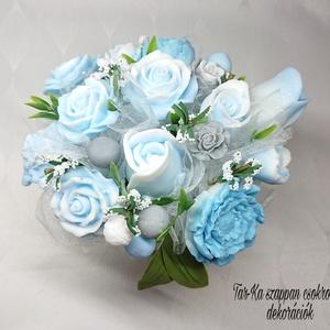 Kék - szürke - fehér szappanvirág dekoráció kaspóban dove illattal , Otthon & lakás, Dekoráció, Csokor, Virágkötés, Szappankészítés, Mindegyik csokor egyedi tervezésű és kézzel készített.\n\nElegáns szappanvirág dekorációk melyek sokái..., Meska