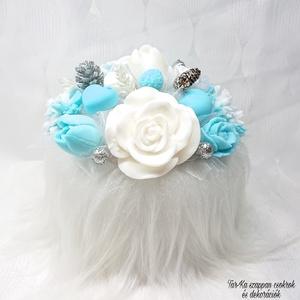 Nagy kék - fehér - ezüst téli tündöklés illatú szappan csokor szőrmés boxban, Csokor & Virágdísz, Dekoráció, Otthon & Lakás, Virágkötés, Szappankészítés, Téli tündöklés illatú.\nMindegyik csokor egyedi tervezésű és kézzel készített.\nElegáns szappanvirág d..., Meska