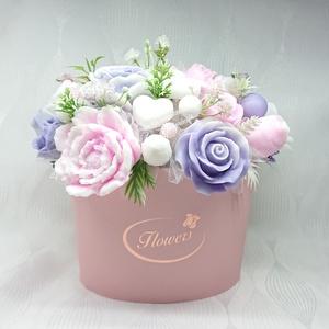 Lila - rózsaszín - fehér szappan box, Otthon & Lakás, Dekoráció, Csokor & Virágdísz, Virágkötés, Szappankészítés, Mindegyik csokor egyedi tervezésű és kézzel készített.\nElegáns szappanvirág dekorációk melyek sokáig..., Meska