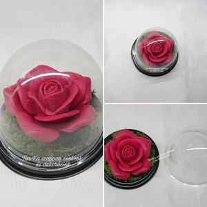 Nagy rózsa formájú szappan kupolában , Otthon & Lakás, Dekoráció, Csokor & Virágdísz, Virágkötés, Szappankészítés, Rózsa formájú kecsketejes szappan dísz.\nEgyedi dekoráció, melyek sokáig megtartják szépségüket és il..., Meska