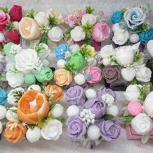 Icipici szappanvirágok mini dobozban , Otthon & Lakás, Dekoráció, Csokor & Virágdísz, Virágkötés, Szappankészítés, Egyedi dekoráció, melyek sokáig megtartják szépségüket és illatukat.\nA szappant egyedileg színezem, ..., Meska