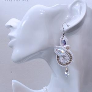 Menyasszonyi egyedi sujtás ékszer, nyaklánc és fülbevaló, antiallergén nemesacél, Swarovski kristályokkal  - esküvő - ékszer - ékszerszett - Meska.hu