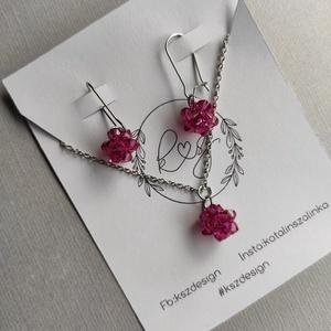 Swarovski rózsaszín gyöngy ékszerszett, szett, nyaklánc, fülbevaló, nemesacél, Ékszer, Ékszerszett, Ékszerkészítés, Gyöngyfűzés, gyöngyhímzés, Meska