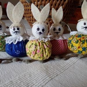 húsvéti textil nyuszikák, Otthon & Lakás, Dekoráció, Függődísz, Varrás, Ezek a textilből készült nyuszikák, díszíthetik a húsvéti asztalt, barkaágon, vagy ki kosárban, vagy..., Meska