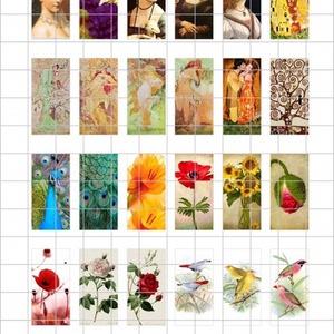 VEGYES Téglalap alakú digitális montázs 48 x 24mm 24db, Gyöngy, ékszerkellék, Papír, Ékszerkészítés, Grafika, fotó, Papírművészet, 2 + 1 AKCIÓ! \nKét ív digitális montázs vásárlása esetén választani lehet egy harmadikat ajándékba!\nF..., Meska