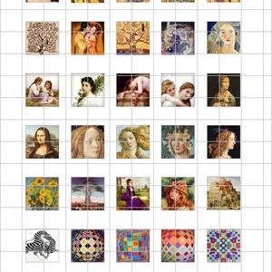 FESTMÉNYEK  négyzet alakú digitális montázs 25 x 25mm 30db, Gyöngy, ékszerkellék, Papír, Ékszerkészítés, Grafika, fotó, Papírművészet, 2 + 1 AKCIÓ! \nKét ív digitális montázs vásárlása esetén választani lehet egy harmadikat ajándékba!\nF..., Meska