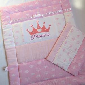 Princess takaró és lapos párna., Otthon & Lakás, Lakástextil, Szett kiságyba, Varrás, A takaró és lapos párna szett méretei: \n-takaró 70 ×90cm\n-lapos párna:30×40cm.\nAz alsó és felső rész..., Meska
