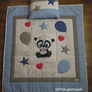 patchwork takaró szett- panda, Otthon & Lakás, Lakástextil, Szett kiságyba, Varrás, A 3 részes takaró szett (ovis takaró, kis párna) patchwork technikával készült.\n\n\nA takaró mérete: 1..., Meska