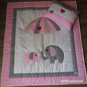 patchwork takaró szett- elefántok ernyővel, Otthon & Lakás, Lakástextil, Ágynemű, Varrás, Meska
