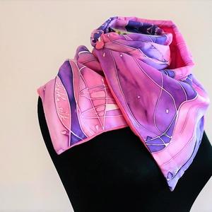Rózsaszín lila téli álom kétrétegű selyem/pamut sál, Táska, Divat & Szépség, Ruha, divat, Sál, sapka, kesztyű, Sál, Selyemfestés, Varrás, Ez a rózsaszín lila kétrétegű, selyem és pamut sál, a hideg napokra készült. Téli kollekcióm másik d..., Meska