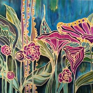 Esőerdő hernyóselyemkép, Otthon & lakás, Dekoráció, Kép, Lakberendezés, Falikép, Selyemfestés, Vastag hernyóselyemre festett kép virágokkal\n\nMérete: 47 x 35 cm\n\n, Meska