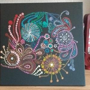Mandala, Otthon & lakás, Képzőművészet, Festmény, Festészet, A termék egy 40 x 40 es méretű fekete vászonra készítettem.\nPróbáltam minél színesebb képet készíten..., Meska