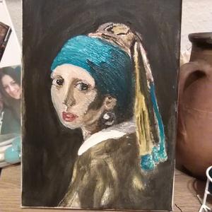 Leány gyöngy  fülbevalóval, Otthon & lakás, Dekoráció, Kép, Festészet, A Nő fülbevalóval természetes másolata az eredetinek, persze a saját szememmel :)\nMagamat vittem bel..., Meska