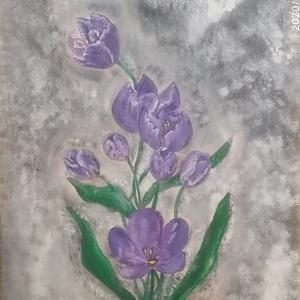 lila tulipánok, Otthon & lakás, Képzőművészet, Festmény, Festészet, A lila tulipán az egyik kedvencem :)\nKissé különc, de annál szebb fali dekoráció a vásárlóm számára ..., Meska