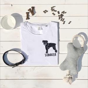 Schnauzer hímzett póló, Textil, Pamut, Grafika, fotó, Hímzés, Kedves Nézelődő!\n\nRendelésre készitett, álltalunk tervezett Schnauzer mintás póló melyet gépi hímzés..., Meska