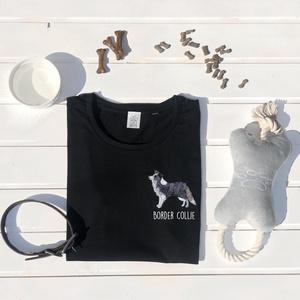 Border Collie hímzett póló, Textil, Pamut, Grafika, fotó, Hímzés, Kedves Nézelődő!\n\nRendelésre készitett, álltalunk tervezett Border Collie mintás póló melyet gépi hí..., Meska