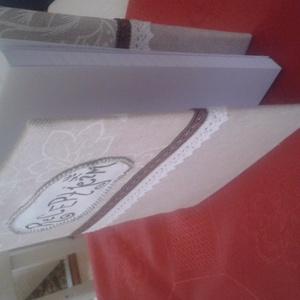 füzet borító, Könyv- és füzetborító, Papír írószer, Otthon & Lakás, Varrás, Lenvászonból készült fehér vászonnal béleltem. barna dísz szalaggal díszítettem., Meska