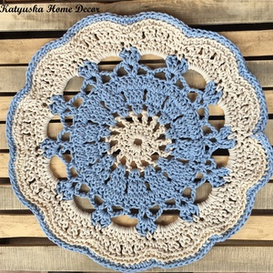 Horgolt szőnyeg - Blue Love, Lakberendezés, Otthon & lakás, Lakástextil, Szőnyeg, Horgolás, Babakék-krém színű, horgolt szőnyeg, mely csodálatos kiegészítője lehet az otthonodnak, gyerekszobán..., Meska