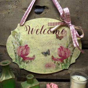 Welcome feliratos tábla tavaszi virágokkal, Otthon & lakás, Lakberendezés, Ajtódísz, kopogtató, Ezt a táblát  a részemre egyedileg gyártott 4 mm-es fa alapra készítettem. Tavaszi virágos szalvétát..., Meska