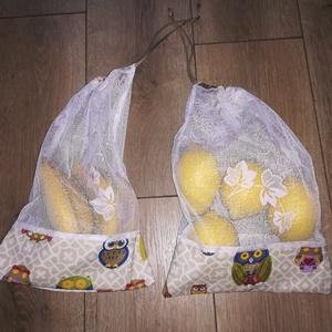 Öko táska 3db, Zöldség/Gyümölcs zsák, Bevásárlás & Shopper táska, Táska & Tok, Varrás, 3db-os táska szett.\nAlja és teteje bagoly mintás erős vászon,közepe maradék levélmintás függönyanyag..., Meska