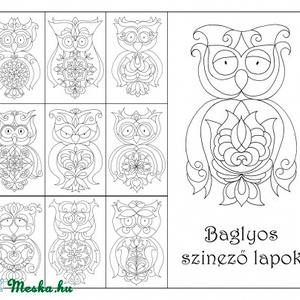 Baglyos színező - nyomtatható PDF (kedo) - Meska.hu