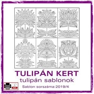 TulipánKert 2019/4, Otthon & lakás, Dekoráció, Kép, 6 db  új tulipán motívum tovább alkotáshoz. Sablon sorszáma: 2019/4  A sablont kedved szerinti méret..., Meska