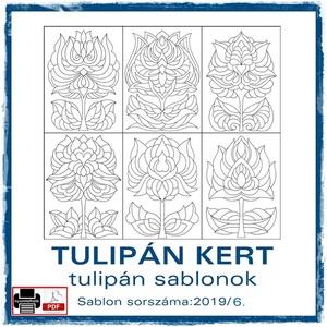TulipánKert 2019/6, Otthon & lakás, Dekoráció, Kép, 6 db  új tulipán motívum tovább alkotáshoz. Sablon sorszáma: 2019/6  A sablont kedved szerinti méret..., Meska