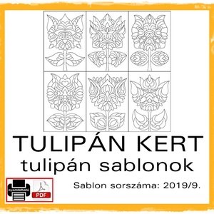 TulipánKert 2019/9, Otthon & lakás, Dekoráció, Kép, 6 db  új tulipán motívum tovább alkotáshoz. Sablon sorszáma: 2019/9.  A sablont kedved szerinti mére..., Meska