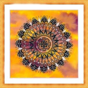 Mandalás falikép, Otthon & lakás, Dekoráció, Képzőművészet, Grafika, Rajz, Saját tervezésű és készítésű rajzomat kínálom paszpartuban. Akvarell festékkel előszínezett, akvarel..., Meska