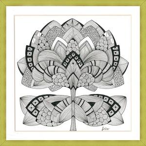 Tulipános falikép, Otthon & lakás, Dekoráció, Kép, Képzőművészet, Grafika, Rajz, Saját tervezésű és készítésű rajzomat kínálom paszpartuban. Akvarell papírra, mikro filccel, ZEN stí..., Meska