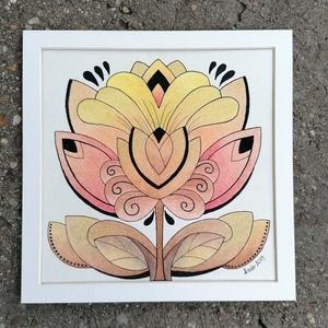 Tulipános falikép, Otthon & lakás, Dekoráció, Kép, Képzőművészet, Grafika, Rajz, Saját tervezésű és készítésű rajzomat kínálom paszpartuban. Akvarell papírra, alkoholos filctollal é..., Meska