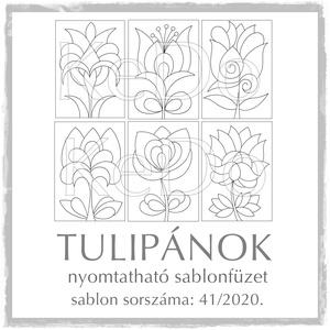 Tulipános sablonfüzet - 41/2020, Otthon & lakás, Dekoráció, Kép, 6 db  aszimmetrikus tulipán motívum tovább alkotáshoz.   A sablont kedved szerinti méretben és menny..., Meska