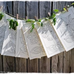 Virágos sablon lapok, Otthon & lakás, Dekoráció, Képzőművészet, Grafika, Rajz, Fotó, grafika, rajz, illusztráció, Bőrhatású, krém színű, A/4-es méretű kartonra, alkoholos filctollal rajzolt virágok, tulipánok.\nA ké..., Meska