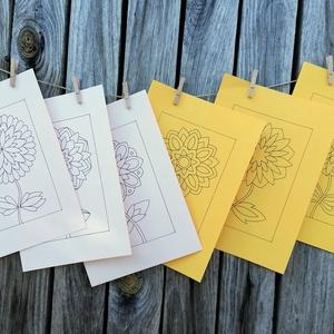 Virágos sablon lapok, Otthon & lakás, Dekoráció, Képzőművészet, Grafika, Rajz, 160 gr-os, színes, A/4-es méretű kartonra, alkoholos filctollal rajzolt virágok. A képeket kedved sz..., Meska