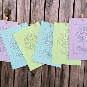 Virágos sablon lapok, Otthon & lakás, Dekoráció, Képzőművészet, Grafika, Rajz, 250 gr-os, színes, A/4-es méretű kartonra, alkoholos filctollal rajzolt virágok. A képeket kedved sz..., Meska