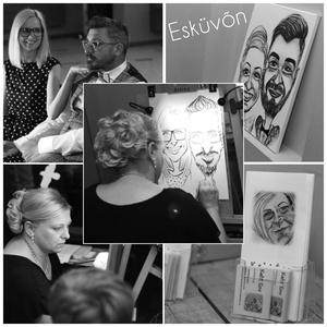 Élő karikatúra rajzolás esküvőn, rendezvényeken, Karikatúra, Portré & Karikatúra, Művészet, Fotó, grafika, rajz, illusztráció, Kitelepülve élő karikatúra rajzolás bármilyen rendezvényen, legyen az magánjellegű, mint egy esküvő,..., Meska