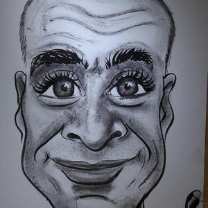 karikatúra, Karikatúra, Portré & Karikatúra, Művészet, Fotó, grafika, rajz, illusztráció, Egy személyt ábrázoló karikatúra, ami A4-es méretben, szabványos műszaki rajzlapra készül, fekete-fe..., Meska