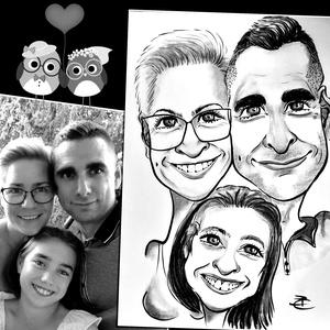 3 fős családi karikatúra, Otthon & lakás, Képzőművészet, Grafika, Rajz, Fotó, grafika, rajz, illusztráció, Csalási karikatúra rajz A3-as méretben, amin max. 3 családtag, vagy 2 családtag és a kedvenc háziáll..., Meska