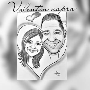 Valentin napi karikatúra ajándékba, Művészet, Portré & Karikatúra, Karikatúra, Fotó, grafika, rajz, illusztráció, Valentin nap alkalmából lepd meg a kedvesed egy páros karikatúrával, ami vicces, aranyos, kedves, eg..., Meska