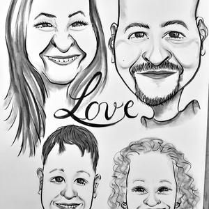 4 fős családi karikatúra, Művészet, Portré & Karikatúra, Karikatúra, Fotó, grafika, rajz, illusztráció, Kedves ajándék bármilyen alkalomra. A családról készült fotók alapján rajzolom, nem gond, ha a csalá..., Meska