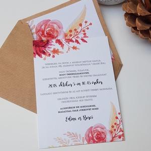 Esküvői meghívó, Esküvő, Esküvői dekoráció, Meghívó, ültetőkártya, köszönőajándék, Fotó, grafika, rajz, illusztráció, Papírművészet, Natúr és klasszikus szuper kombinációja.\n\nMérete 10x15 cm\n\nRendelhettek hasonló stílusú ültetőkártyá..., Meska