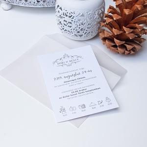 Esküvői meghívó, Esküvő, Esküvői dekoráció, Meghívó, ültetőkártya, köszönőajándék, Fotó, grafika, rajz, illusztráció, Papírművészet, Elegáns fehér hangulat. Letisztul meghívó pausz borítékban. A kiegészítők között szatén szalag válas..., Meska