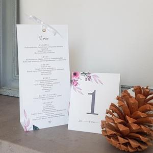 Esküvői menükártya, Esküvő, Esküvői dekoráció, Meghívó, ültetőkártya, köszönőajándék, Fotó, grafika, rajz, illusztráció, Papírművészet, A natúr hangulatú esküvő tökéletes kiegészítője.\nA menükártya mérete kb. 100x210 mm, két  oldalas. A..., Meska