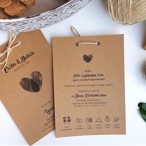 Esküvői meghívó • Fingerprint, Esküvő, Esküvői dekoráció, Meghívó, ültetőkártya, köszönőajándék, Fotó, grafika, rajz, illusztráció, Papírművészet, Natúr, elegáns és személyes!\n\nMérete 10,5x14,8  cm, kraftpapírra nyomtatva feketével.\n\nRendelhettek ..., Meska