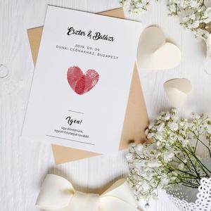 Esküvői meghívó • ujjlenyomat, Meghívó, Meghívó & Kártya, Esküvő, Fotó, grafika, rajz, illusztráció, Papírművészet, Elegáns meghívó, minimál stílusban.\n\nMérete 10,5x14,8 cm, kreatív kartonra nyomtatva. Az ár a boríté..., Meska