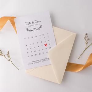 Esküvői meghívó • mininaptár II., Meghívó, Meghívó & Kártya, Esküvő, Fotó, grafika, rajz, illusztráció, Papírművészet, Elegáns meghívó, minimál stílusban.\n\nMérete 10,5x14,8 cm, 300 grammos ofszet papírra nyomtatva. Az á..., Meska
