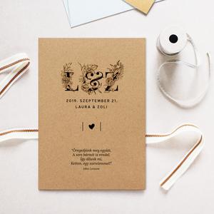 Esküvői meghívó, Meghívó, Meghívó & Kártya, Esküvő, Fotó, grafika, rajz, illusztráció, Papírművészet, Esküvői meghívó dekoratív monogrammal.\n\nMérete 10,5x14,8  cm, kraftpapírra nyomtatva feketével.\n\nRen..., Meska